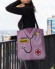 Personalized Nurse Shirt Pink All-over Tote aos-all-over-tote-lifestyle-front-05