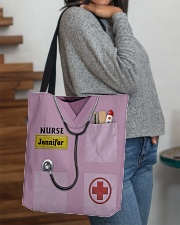 Personalized Nurse Shirt Pink All-over Tote aos-all-over-tote-lifestyle-front-09
