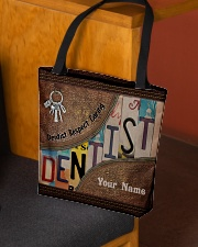 Custom Name Dentist Respect Caring Courage   All-over Tote aos-all-over-tote-lifestyle-front-02