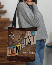Custom Name Dentist Respect Caring Courage   All-over Tote aos-all-over-tote-lifestyle-front-09