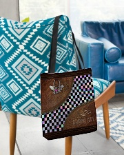 Racing Girl Leather Pattern Print All-over Tote aos-all-over-tote-lifestyle-front-01