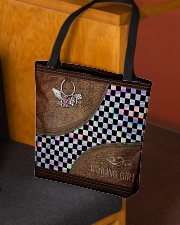 Racing Girl Leather Pattern Print All-over Tote aos-all-over-tote-lifestyle-front-02