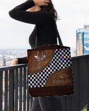 Racing Girl Leather Pattern Print All-over Tote aos-all-over-tote-lifestyle-front-05