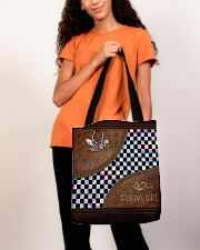 Racing Girl Leather Pattern Print All-over Tote aos-all-over-tote-lifestyle-front-06