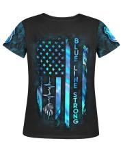 Police Blue Line Strong Heart  Women's AOP T-Shirt S back