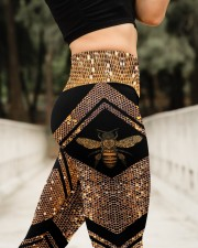 Queen Bee Honey Comb Pattern High Waist Leggings aos-high-waist-leggings-lifestyle-11