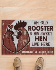 """Personalized Chicken Couple Live Here Doormat 22.5"""" x 15""""  aos-doormat-22-5x15-lifestyle-front-02"""