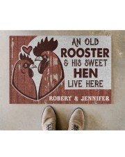 """Personalized Chicken Couple Live Here Doormat 22.5"""" x 15""""  aos-doormat-22-5x15-lifestyle-front-04"""
