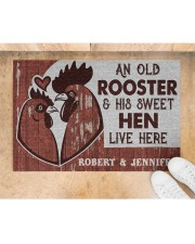 """Personalized Chicken Couple Live Here Doormat 22.5"""" x 15""""  aos-doormat-22-5x15-lifestyle-front-05"""