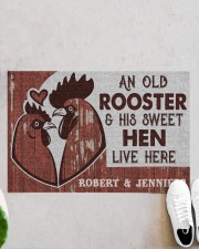 """Personalized Chicken Couple Live Here Doormat 22.5"""" x 15""""  aos-doormat-22-5x15-lifestyle-front-06"""