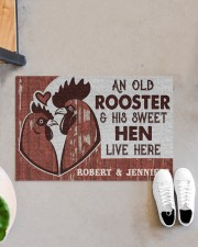 """Personalized Chicken Couple Live Here Doormat 22.5"""" x 15""""  aos-doormat-22-5x15-lifestyle-front-07"""