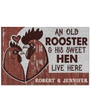 """Personalized Chicken Couple Live Here Doormat 22.5"""" x 15""""  front"""