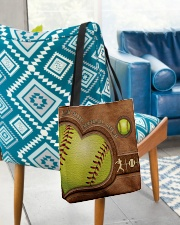 Eat Sleep Softball Repeat Leather Pattern Print  All-over Tote aos-all-over-tote-lifestyle-front-01