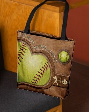 Eat Sleep Softball Repeat Leather Pattern Print  All-over Tote aos-all-over-tote-lifestyle-front-02