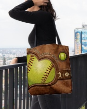 Eat Sleep Softball Repeat Leather Pattern Print  All-over Tote aos-all-over-tote-lifestyle-front-05