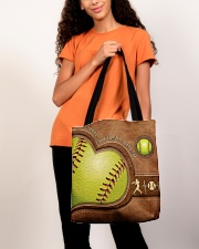 Eat Sleep Softball Repeat Leather Pattern Print  All-over Tote aos-all-over-tote-lifestyle-front-06