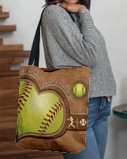 Eat Sleep Softball Repeat Leather Pattern Print  All-over Tote aos-all-over-tote-lifestyle-front-09
