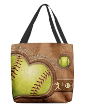 Eat Sleep Softball Repeat Leather Pattern Print  All-over Tote back
