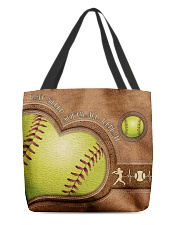 Eat Sleep Softball Repeat Leather Pattern Print  All-over Tote front