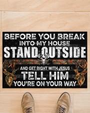"Hunting Jesus Before You Break Into My House  Doormat 22.5"" x 15""  aos-doormat-22-5x15-lifestyle-front-02"