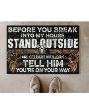 "Hunting Jesus Before You Break Into My House  Doormat 22.5"" x 15""  aos-doormat-22-5x15-lifestyle-front-04"