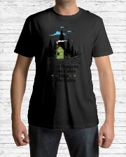 What Happens at the Cabin Stays at the Cabin C Premium Fit Mens Tee lifestyle-mens-crewneck-front-1