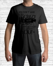 You Don't Have To Be Crazy To Camp With Us We' Premium Fit Mens Tee lifestyle-mens-crewneck-front-1