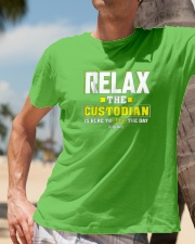 Relax-the-Custodia-is-here-Funny-Custodian-Shirt Classic T-Shirt lifestyle-mens-crewneck-front-11