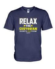 Relax-the-Custodia-is-here-Funny-Custodian-Shirt V-Neck T-Shirt thumbnail