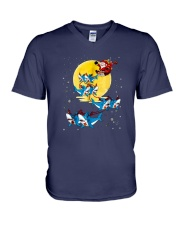 Santa-Claus-Riding-Shark-Christmas V-Neck T-Shirt thumbnail