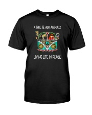 A-girl-and-her-animals-living-life-in-peace-shirt Classic T-Shirt front