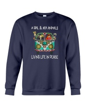 A-girl-and-her-animals-living-life-in-peace-shirt Crewneck Sweatshirt thumbnail