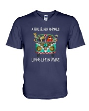 A-girl-and-her-animals-living-life-in-peace-shirt V-Neck T-Shirt thumbnail