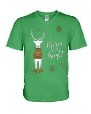 Merry and Bright Deer Shirt V-Neck T-Shirt thumbnail