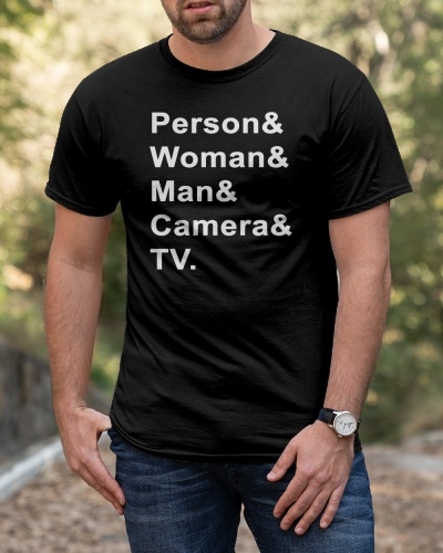 person woman man camera tv shirt