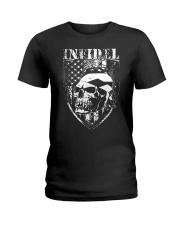 Gun Right Infidel Skull Do Rag Ladies T-Shirt thumbnail