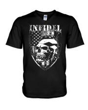 Gun Right Infidel Skull Do Rag V-Neck T-Shirt thumbnail