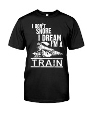 I Don't Snore I Dream I'm A Train Premium Fit Mens Tee tile
