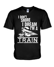 I Don't Snore I Dream I'm A Train V-Neck T-Shirt tile