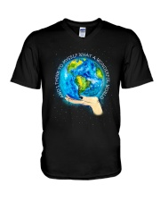 Myself What A Wonderful World V-Neck T-Shirt tile