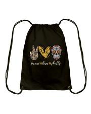Peace Love Skulls Drawstring Bag thumbnail