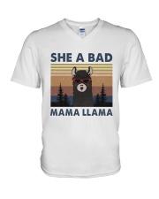She A Bad Mama Llama V-Neck T-Shirt thumbnail