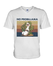 No Probllama V-Neck T-Shirt thumbnail