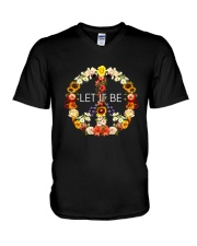 Let It Be Flowers V-Neck T-Shirt thumbnail