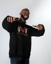 Peace Love Sloths Hooded Sweatshirt apparel-hooded-sweatshirt-lifestyle-front-12