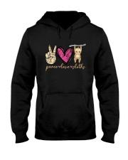 Peace Love Sloths Hooded Sweatshirt front