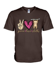 Peace Love Sloths V-Neck T-Shirt thumbnail