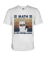 Math Is No Probllama V-Neck T-Shirt thumbnail