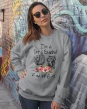 I'm A Cat And Baseball Crewneck Sweatshirt lifestyle-unisex-sweatshirt-front-3