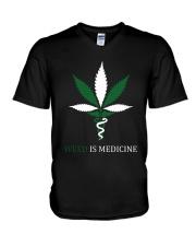 Weed Is Medicine V-Neck T-Shirt thumbnail